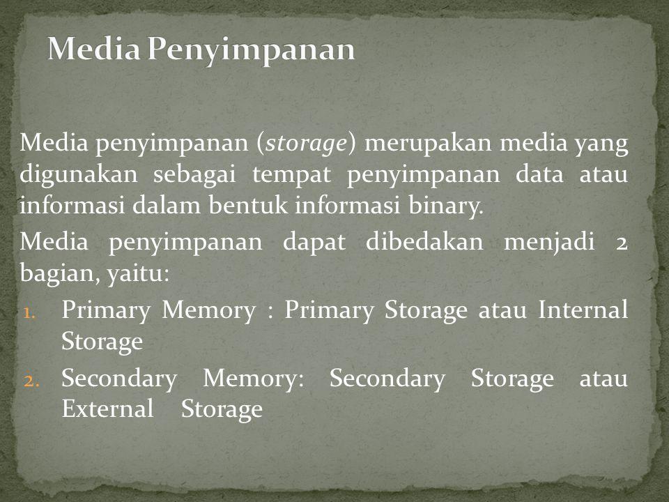 Media penyimpanan (storage) merupakan media yang digunakan sebagai tempat penyimpanan data atau informasi dalam bentuk informasi binary.