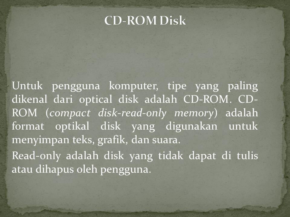 Untuk pengguna komputer, tipe yang paling dikenal dari optical disk adalah CD-ROM.