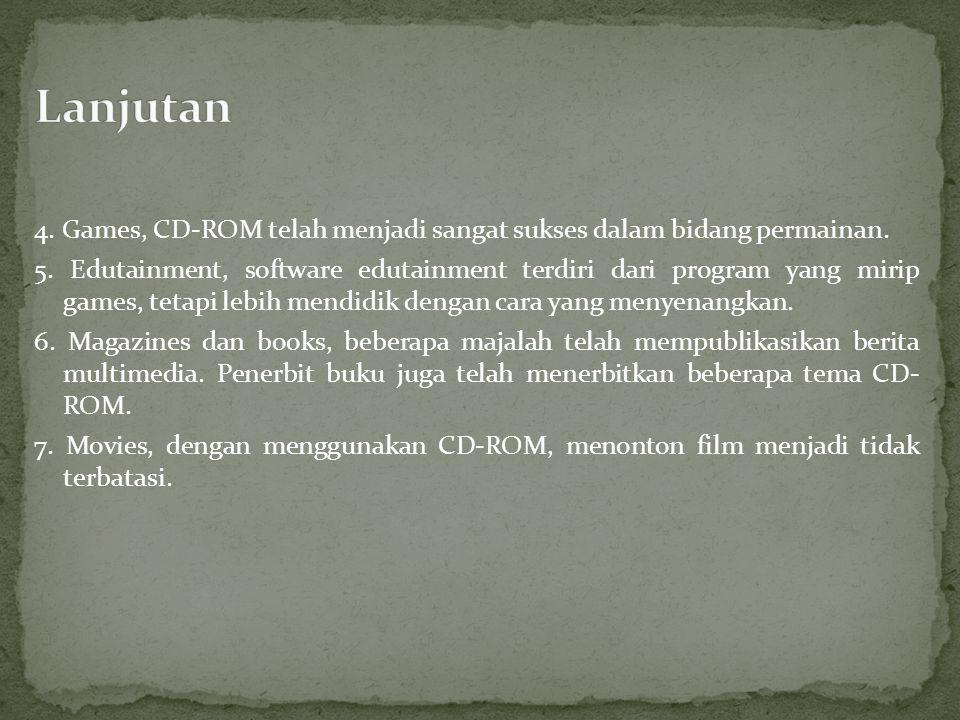 4. Games, CD-ROM telah menjadi sangat sukses dalam bidang permainan.