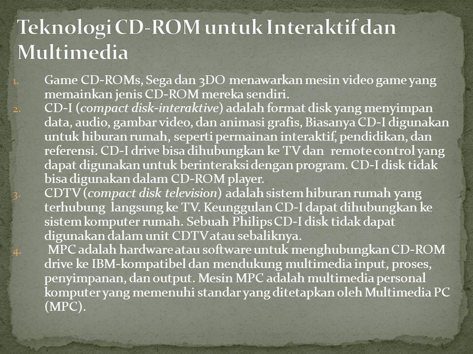 1. Game CD-ROMs, Sega dan 3DO menawarkan mesin video game yang memainkan jenis CD-ROM mereka sendiri. 2. CD-I (compact disk-interaktive) adalah format