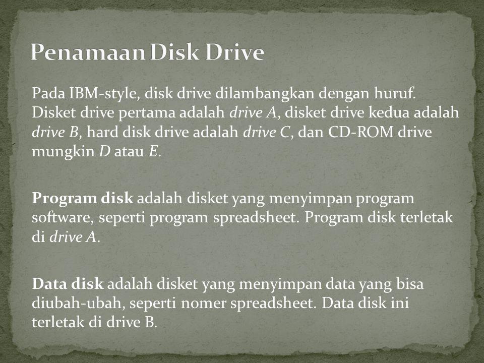 Pada IBM-style, disk drive dilambangkan dengan huruf.