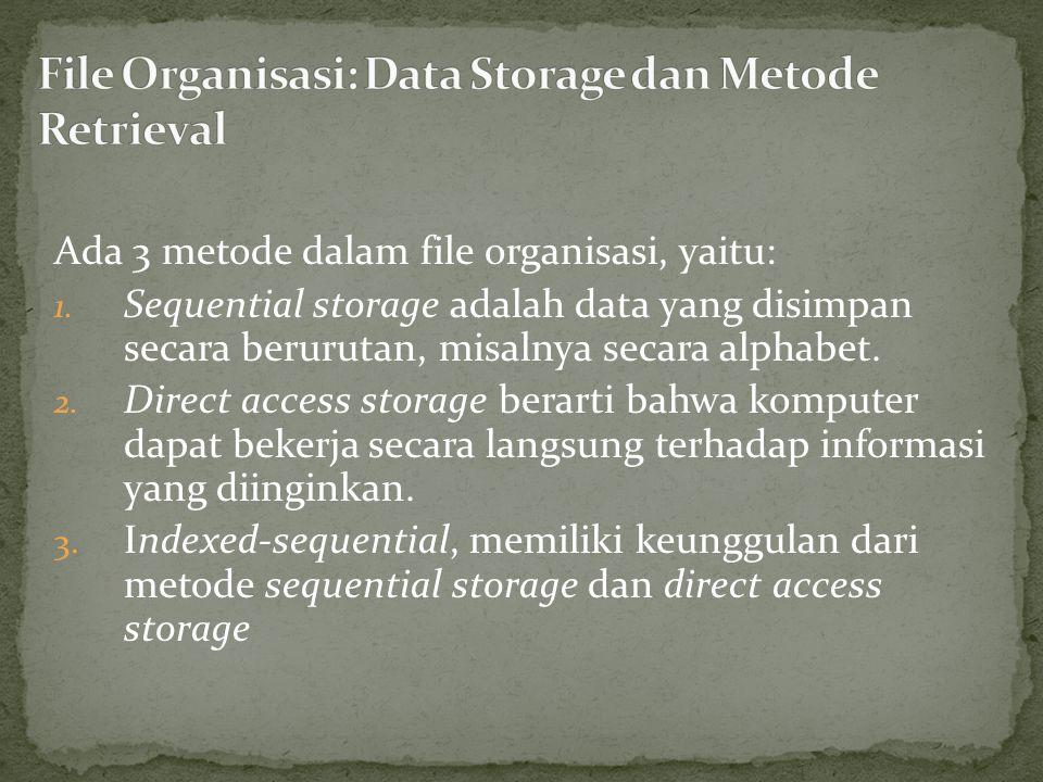 Ada 3 metode dalam file organisasi, yaitu: 1.