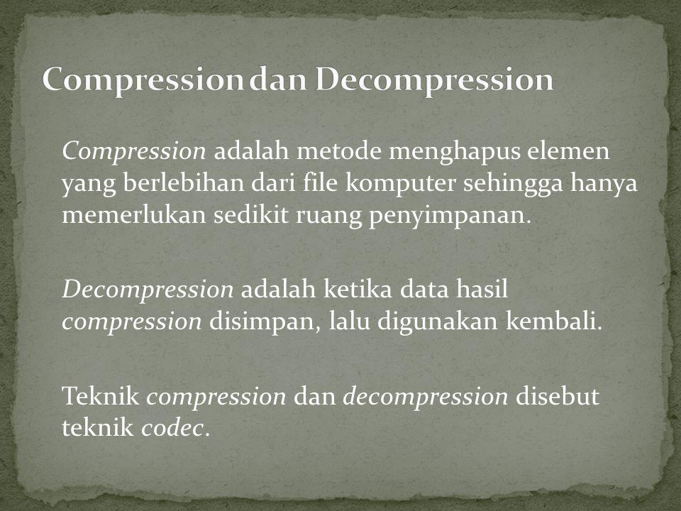 Compression adalah metode menghapus elemen yang berlebihan dari file komputer sehingga hanya memerlukan sedikit ruang penyimpanan.