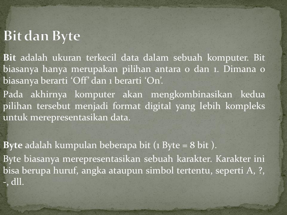Bit adalah ukuran terkecil data dalam sebuah komputer.