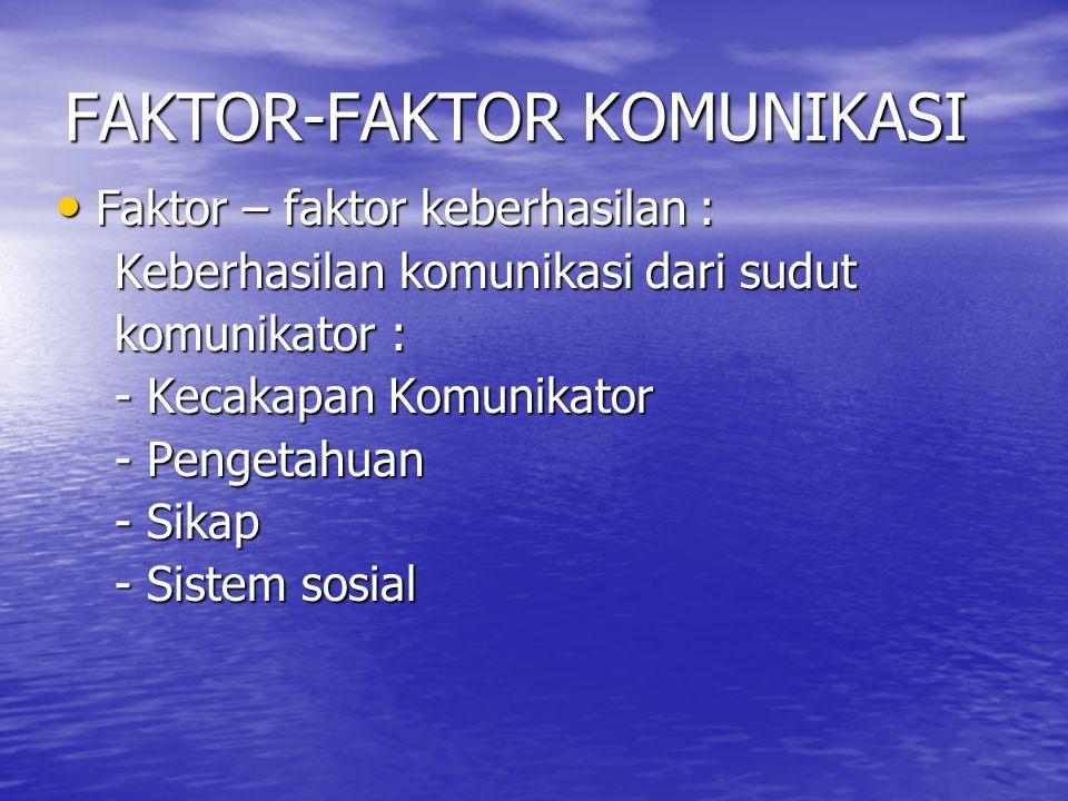 FAKTOR-FAKTOR KOMUNIKASI • FAKTOR KEBERHASILAN KOMUNIKASI DARI SUDUT KOMUNIKAN : DARI SUDUT KOMUNIKAN : - Cakap - Cakap - Pengetahuan - Pengetahuan - Ramah - Ramah - Sistem Sosial - Sistem Sosial - Kondisi lahiriah.
