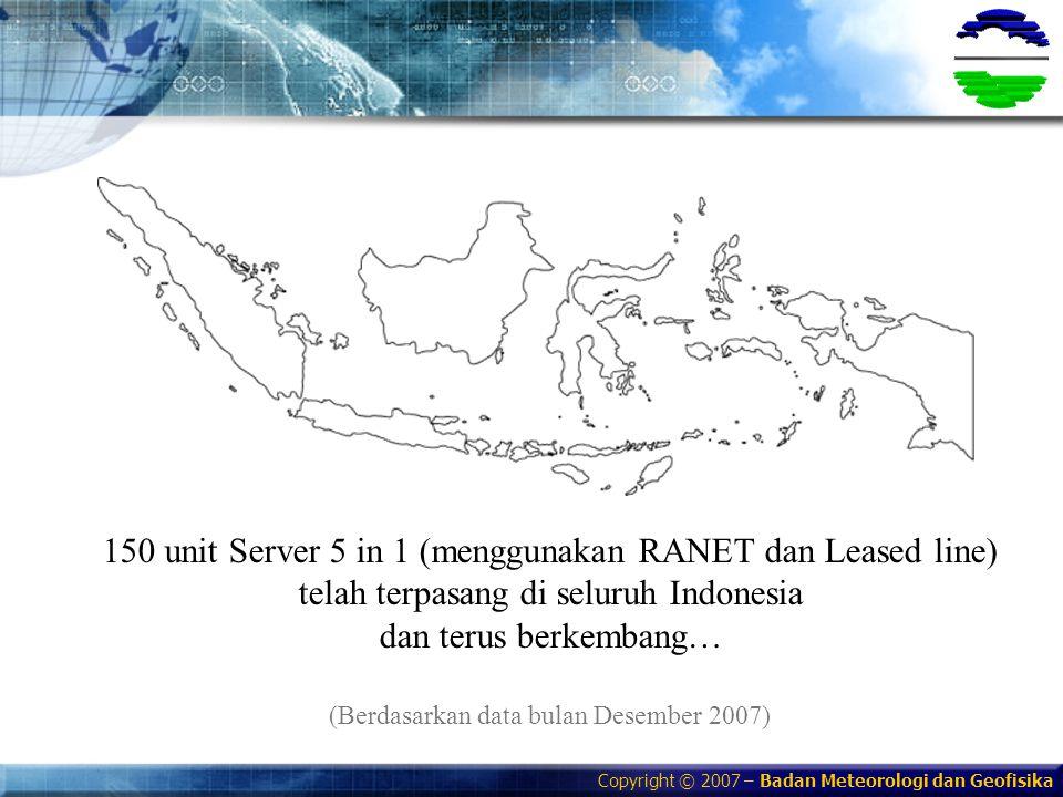 Copyright © 2007 – Badan Meteorologi dan Geofisika 150 unit Server 5 in 1 (menggunakan RANET dan Leased line) telah terpasang di seluruh Indonesia dan