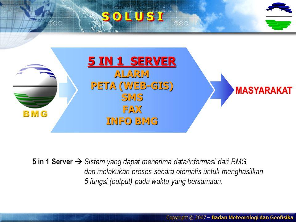 Copyright © 2007 – Badan Meteorologi dan Geofisika S O L U S I MASYARAKAT 5 IN 1 SERVER ALARM PETA (WEB-GIS) SMSFAX INFO BMG 5 in 1 Server  Sistem ya