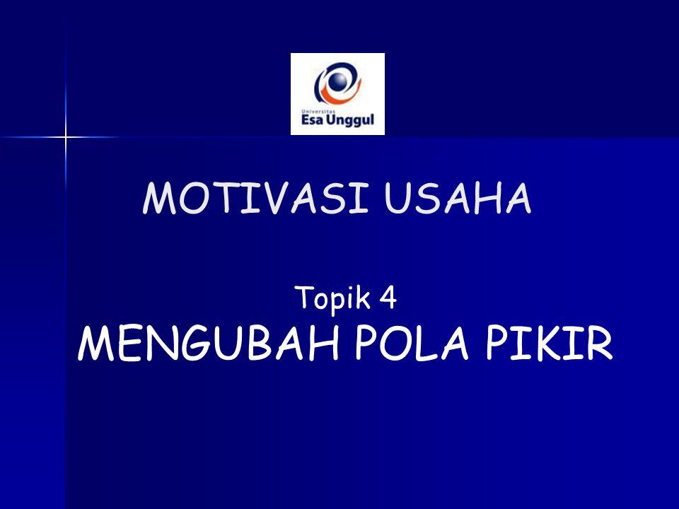 Topik 4 MENGUBAH POLA PIKIR MOTIVASI USAHA