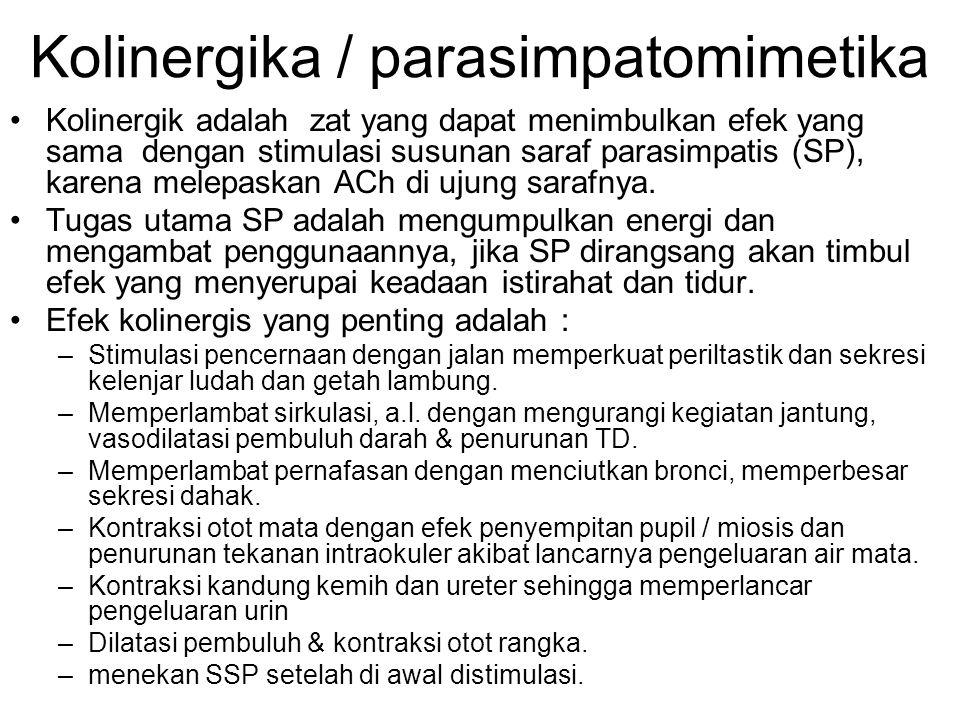 Kolinergika / parasimpatomimetika •Kolinergik adalah zat yang dapat menimbulkan efek yang sama dengan stimulasi susunan saraf parasimpatis (SP), karena melepaskan ACh di ujung sarafnya.