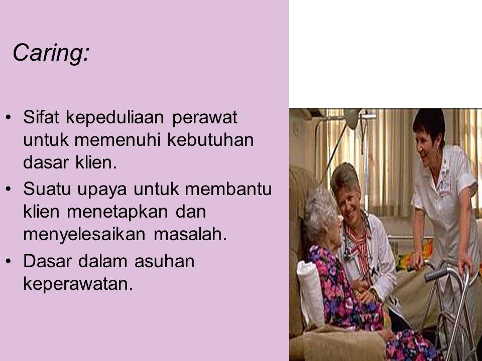 Caring: •Sifat kepeduliaan perawat untuk memenuhi kebutuhan dasar klien. •Suatu upaya untuk membantu klien menetapkan dan menyelesaikan masalah. •Dasa