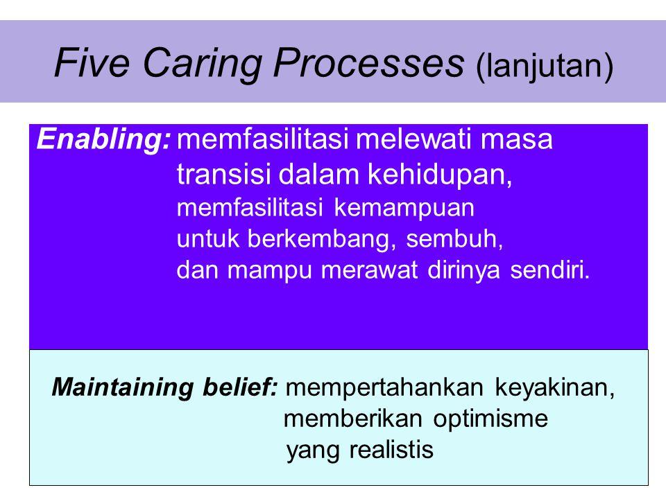 Five Caring Processes (lanjutan) Enabling: memfasilitasi melewati masa transisi dalam kehidupan, memfasilitasi kemampuan untuk berkembang, sembuh, dan