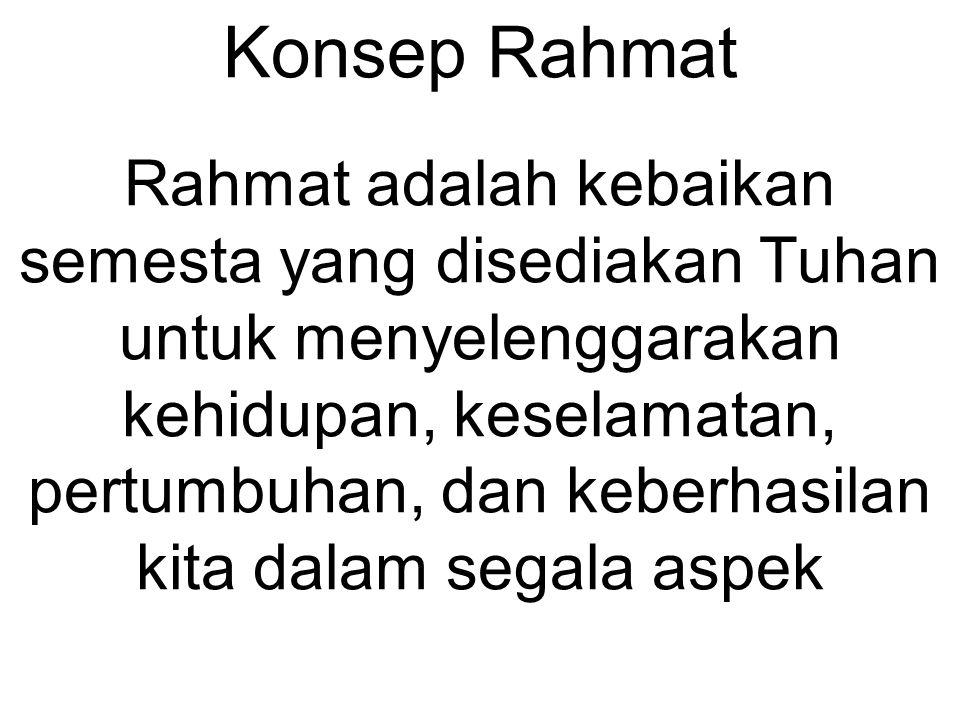 Konsep Rahmat Rahmat adalah kebaikan semesta yang disediakan Tuhan untuk menyelenggarakan kehidupan, keselamatan, pertumbuhan, dan keberhasilan kita d