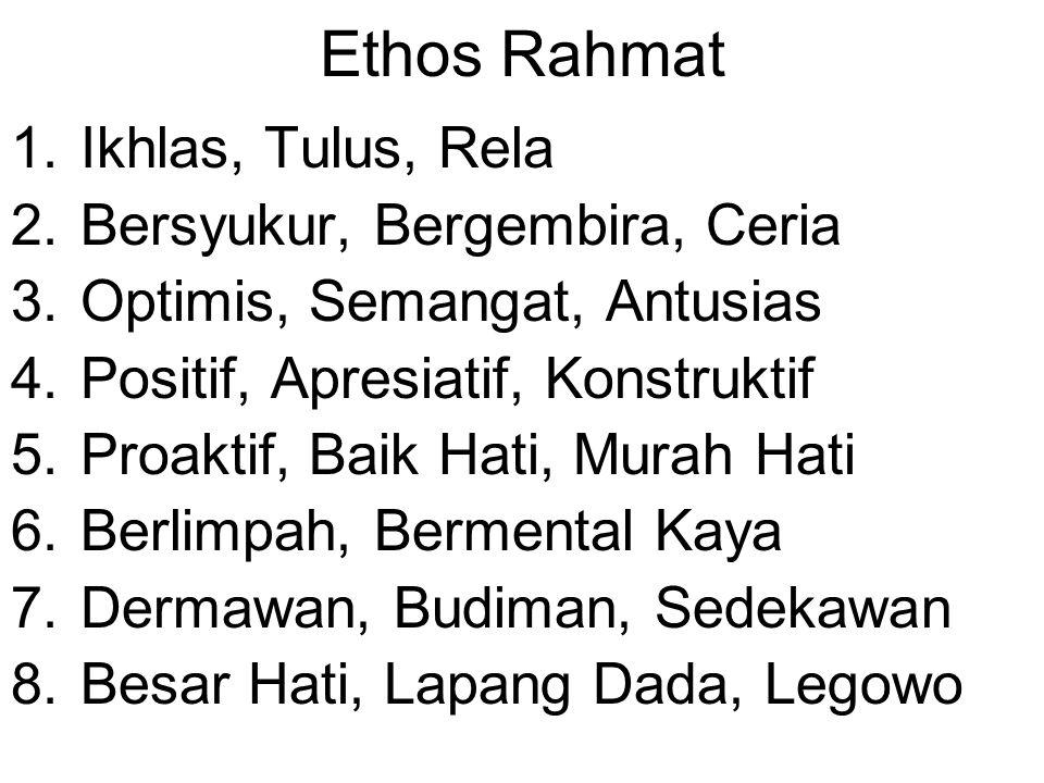 Ethos Rahmat 1.Ikhlas, Tulus, Rela 2.Bersyukur, Bergembira, Ceria 3.Optimis, Semangat, Antusias 4.Positif, Apresiatif, Konstruktif 5.Proaktif, Baik Ha