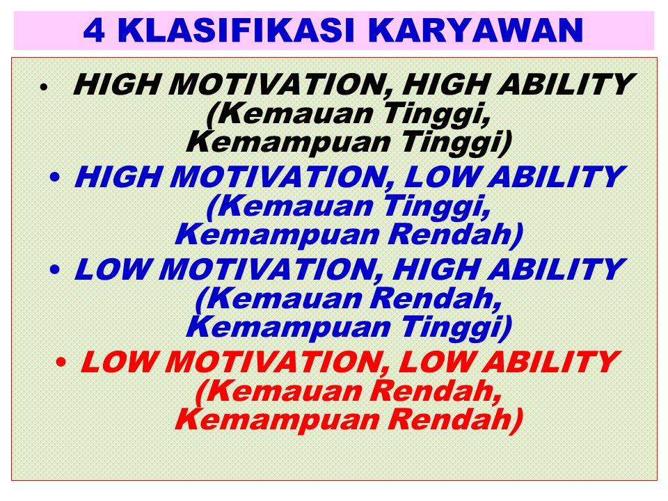 4 KLASIFIKASI KARYAWAN • HIGH MOTIVATION, HIGH ABILITY (Kemauan Tinggi, Kemampuan Tinggi) •HIGH MOTIVATION, LOW ABILITY (Kemauan Tinggi, Kemampuan Ren