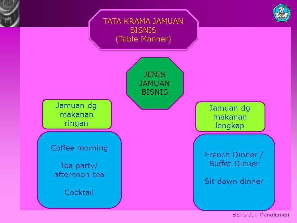 Bisnis dan Manajemen TATA KRAMA JAMUAN BISNIS (Table Manner) TATA KRAMA JAMUAN BISNIS (Table Manner) Coffee morning Tea party/ afternoon tea Cocktail