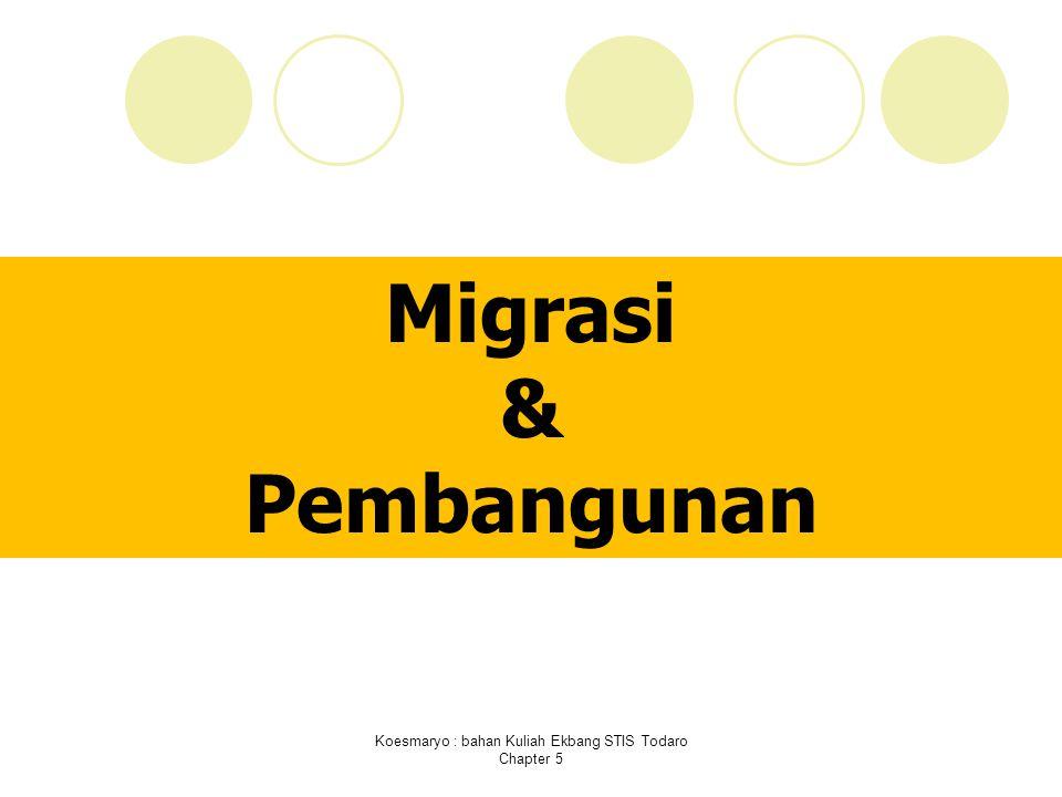 Koesmaryo : bahan Kuliah Ekbang STIS Todaro Chapter 5 Migrasi & Pembangunan