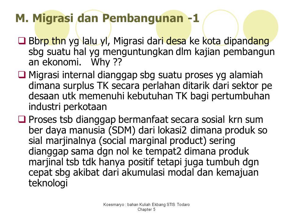 Koesmaryo : bahan Kuliah Ekbang STIS Todaro Chapter 5 M. Migrasi dan Pembangunan -1  Bbrp thn yg lalu yl, Migrasi dari desa ke kota dipandang sbg sua