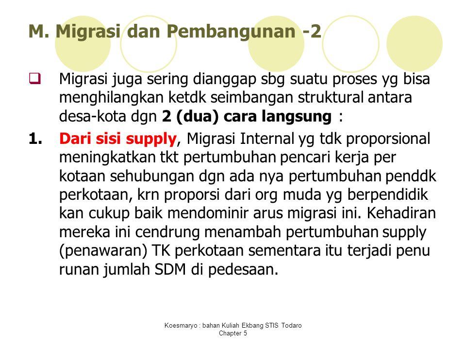 Koesmaryo : bahan Kuliah Ekbang STIS Todaro Chapter 5 M. Migrasi dan Pembangunan -2  Migrasi juga sering dianggap sbg suatu proses yg bisa menghilang