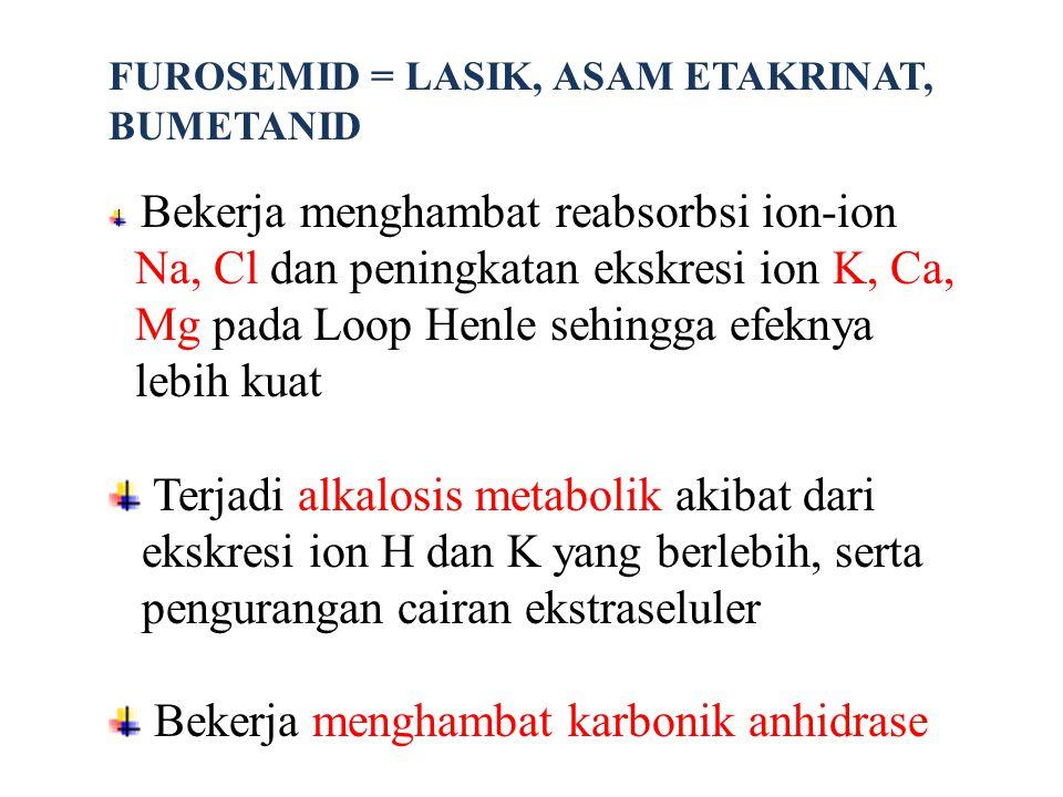 FUROSEMID = LASIK, ASAM ETAKRINAT, BUMETANID Bekerja menghambat reabsorbsi ion-ion Na, Cl dan peningkatan ekskresi ion K, Ca, Mg pada Loop Henle sehin
