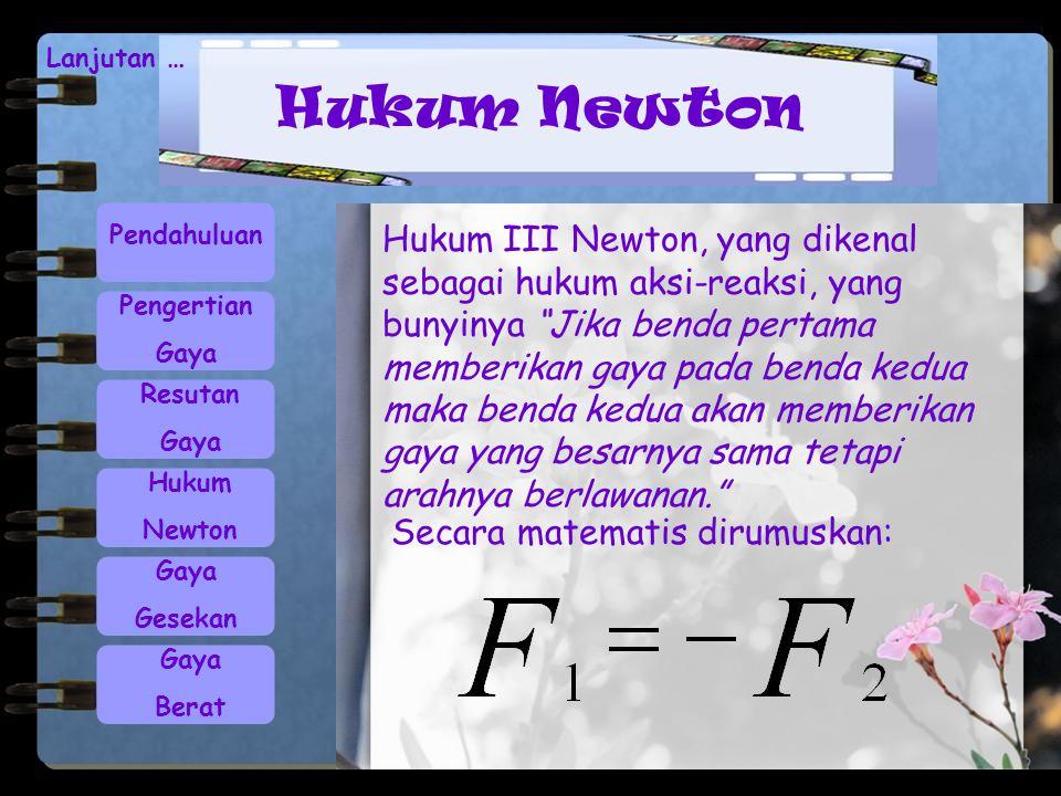 Hukum Newton Lanjutan … Pendahuluan Pengertian Gaya Resutan Gaya Hukum Newton Gaya Gesekan Gaya Berat Hukum III Newton, yang dikenal sebagai hukum aks