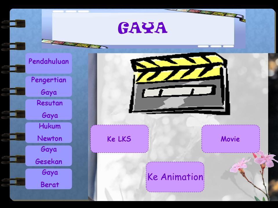Pendahuluan Pengertian Gaya Resutan Gaya Hukum Newton Gaya Gesekan Gaya Berat GAYA Ke Animation Ke LKSMovie