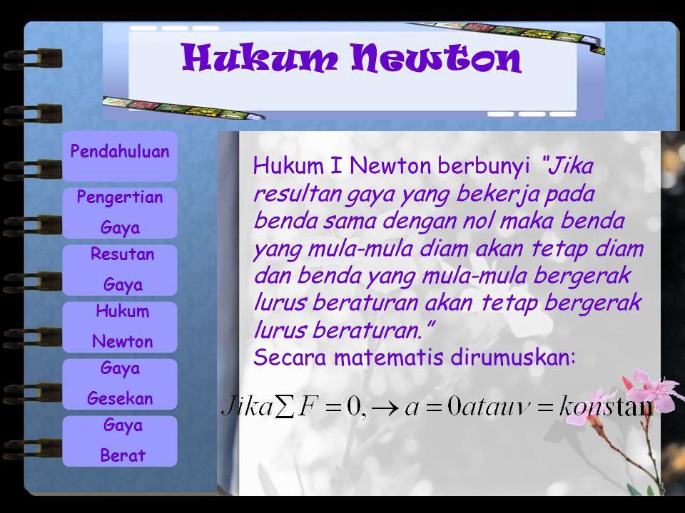 """Pendahuluan Pengertian Gaya Resutan Gaya Hukum Newton Gaya Gesekan Gaya Berat Hukum I Newton berbunyi """"Jika resultan gaya yang bekerja pada benda sama"""