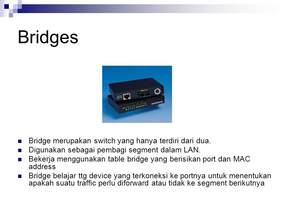 Bridges  Bridge merupakan switch yang hanya terdiri dari dua.