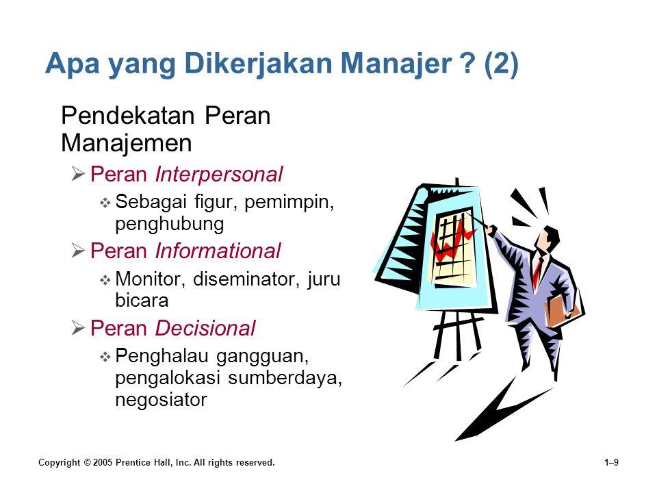 Copyright © 2005 Prentice Hall, Inc. All rights reserved.1–9 Apa yang Dikerjakan Manajer ? (2) •Pendekatan Peran Manajemen  Peran Interpersonal  Seb