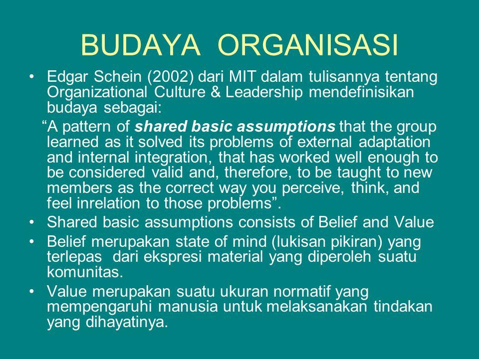 """•Edgar Schein (2002) dari MIT dalam tulisannya tentang Organizational Culture & Leadership mendefinisikan budaya sebagai: """"A pattern of shared basic a"""