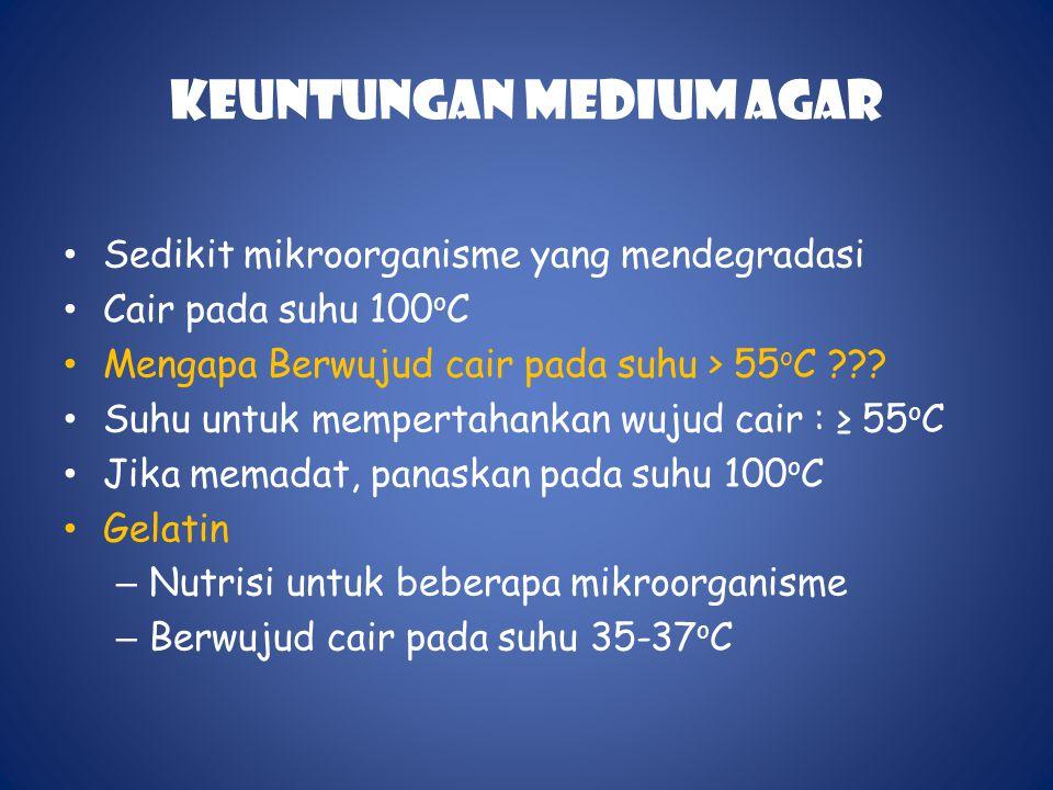 Keuntungan Medium Agar • Sedikit mikroorganisme yang mendegradasi • Cair pada suhu 100 o C • Mengapa Berwujud cair pada suhu > 55 o C ??.