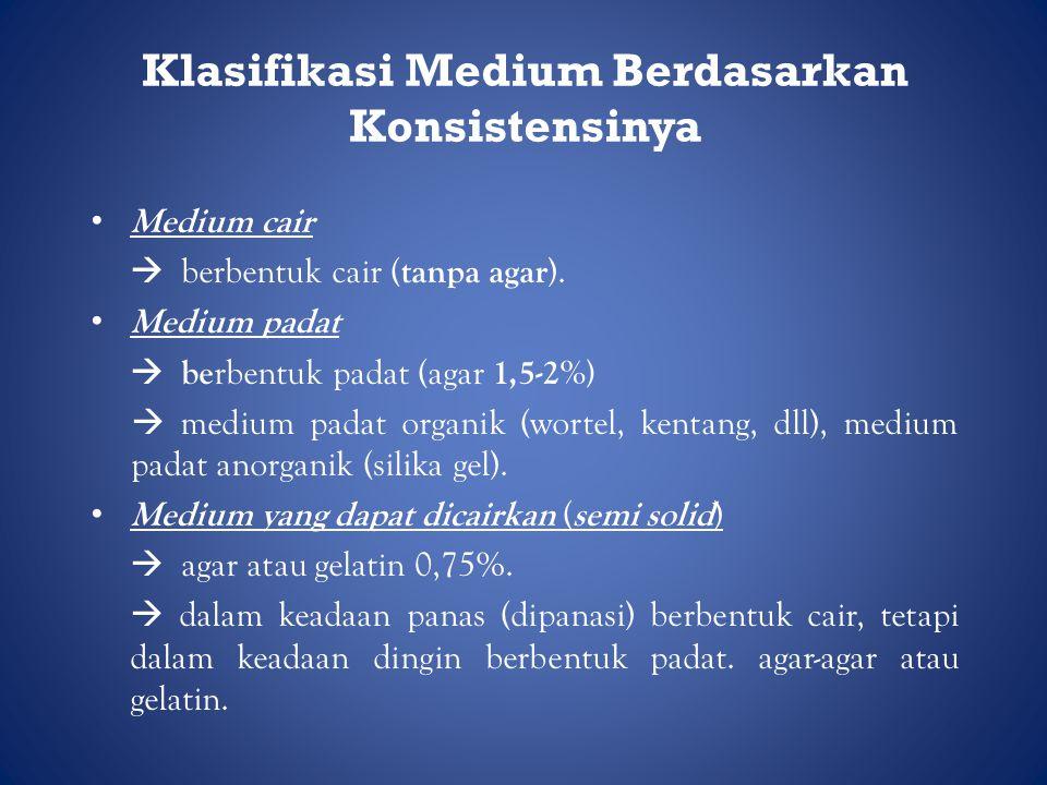 Klasifikasi Medium Berdasarkan Konsistensinya • Medium cair  berbentuk cair ( tanpa agar ).