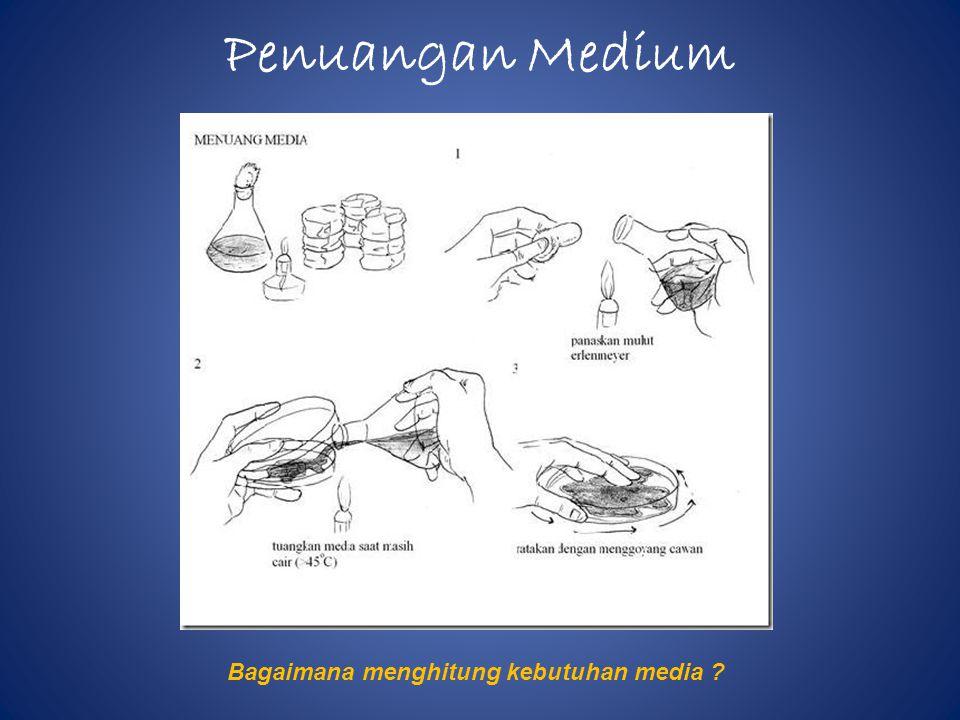 Penuangan Medium Bagaimana menghitung kebutuhan media ?