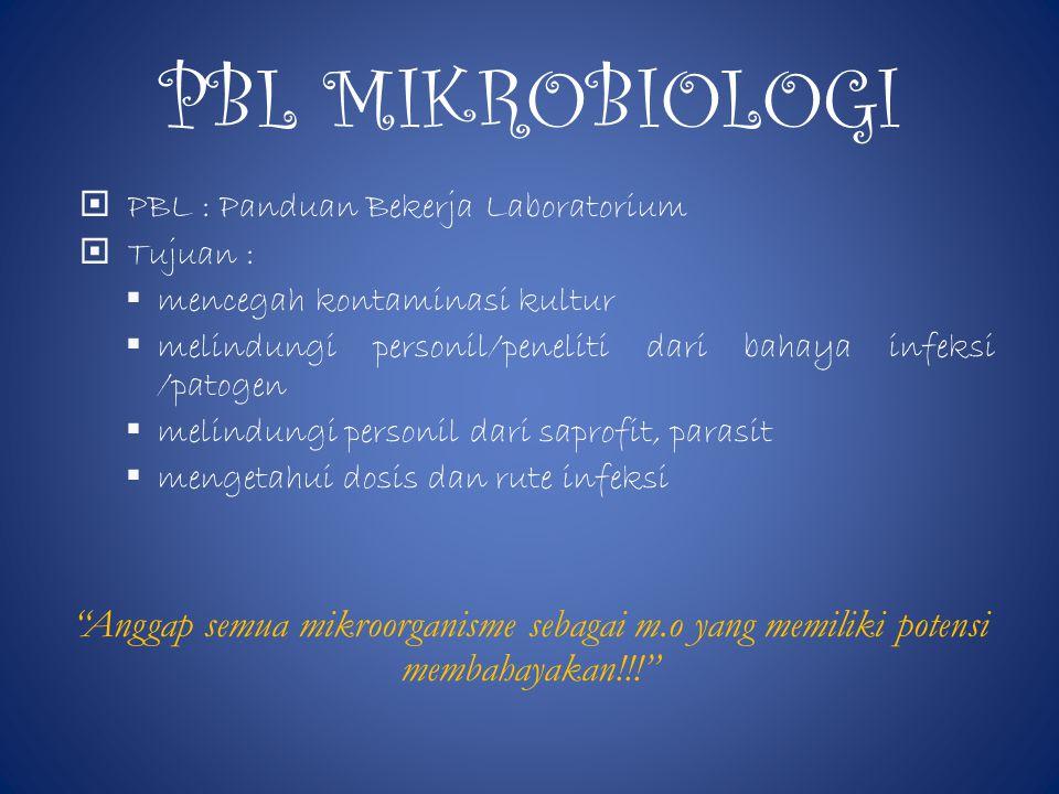 PBL MIKROBIOLOGI  PBL : Panduan Bekerja Laboratorium  Tujuan :  mencegah kontaminasi kultur  melindungi personil/peneliti dari bahaya infeksi /patogen  melindungi personil dari saprofit, parasit  mengetahui dosis dan rute infeksi Anggap semua mikroorganisme sebagai m.o yang memiliki potensi membahayakan!!!