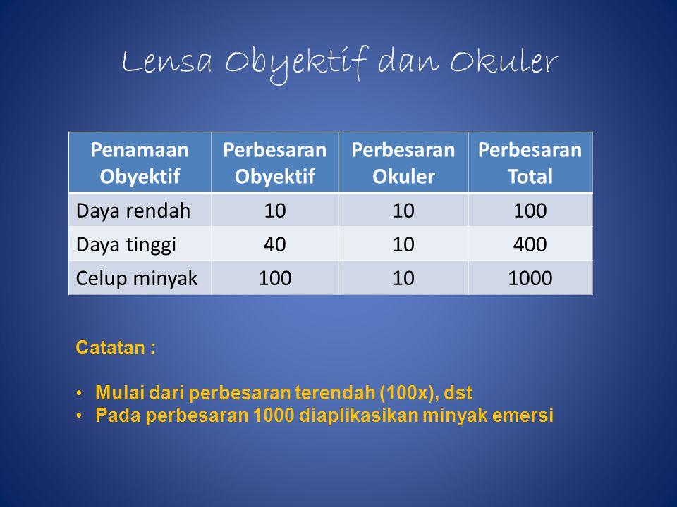 Lensa Obyektif dan Okuler Penamaan Obyektif Perbesaran Obyektif Perbesaran Okuler Perbesaran Total Daya rendah10 100 Daya tinggi4010400 Celup minyak100101000 Catatan : •Mulai dari perbesaran terendah (100x), dst •Pada perbesaran 1000 diaplikasikan minyak emersi