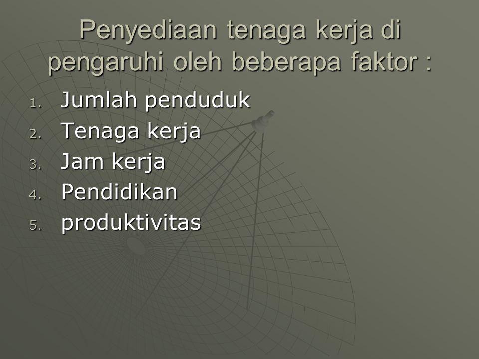 Penyediaan tenaga kerja di pengaruhi oleh beberapa faktor : 1. Jumlah penduduk 2. Tenaga kerja 3. Jam kerja 4. Pendidikan 5. produktivitas