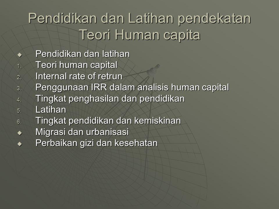 Pendidikan dan Latihan pendekatan Teori Human capita  Pendidikan dan latihan 1. Teori human capital 2. Internal rate of retrun 3. Penggunaan IRR dala