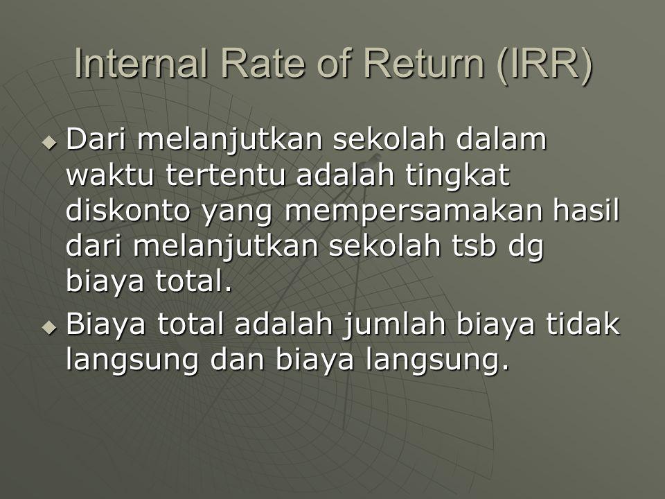 Internal Rate of Return (IRR)  Dari melanjutkan sekolah dalam waktu tertentu adalah tingkat diskonto yang mempersamakan hasil dari melanjutkan sekola