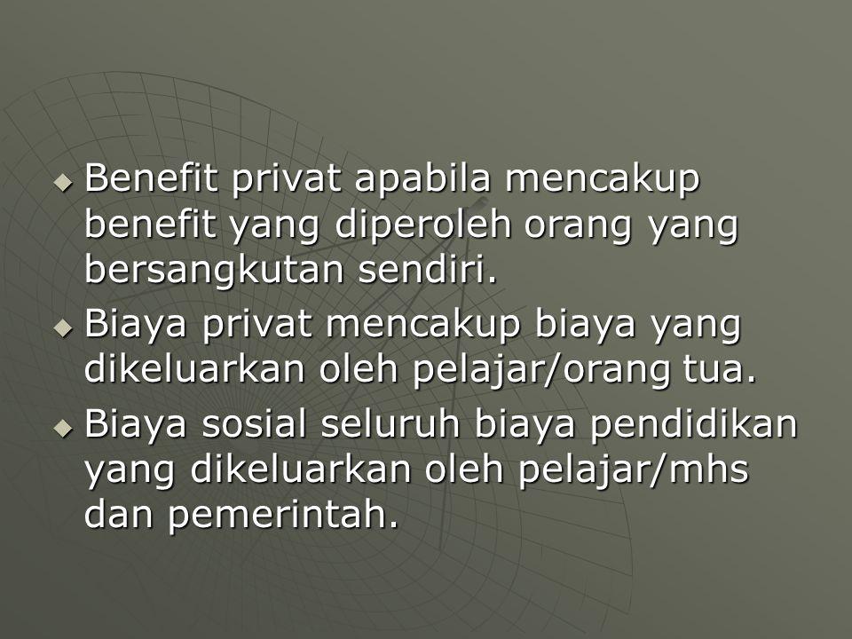  Benefit privat apabila mencakup benefit yang diperoleh orang yang bersangkutan sendiri.  Biaya privat mencakup biaya yang dikeluarkan oleh pelajar/