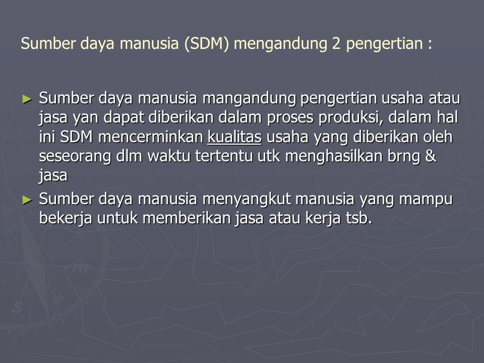 Sumber daya manusia (SDM) mengandung 2 pengertian : ► Sumber daya manusia mangandung pengertian usaha atau jasa yan dapat diberikan dalam proses produ