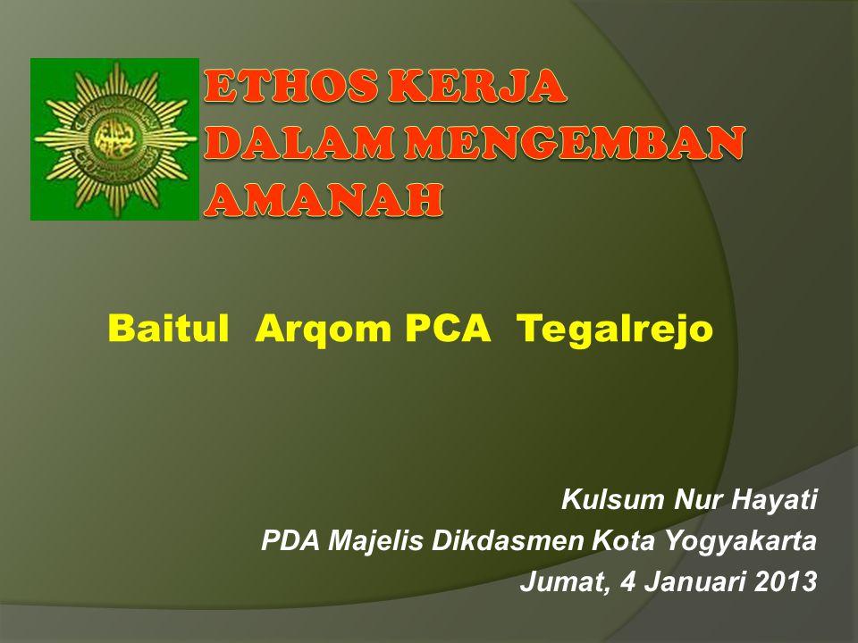 Kulsum Nur Hayati PDA Majelis Dikdasmen Kota Yogyakarta Jumat, 4 Januari 2013 Baitul Arqom PCA Tegalrejo