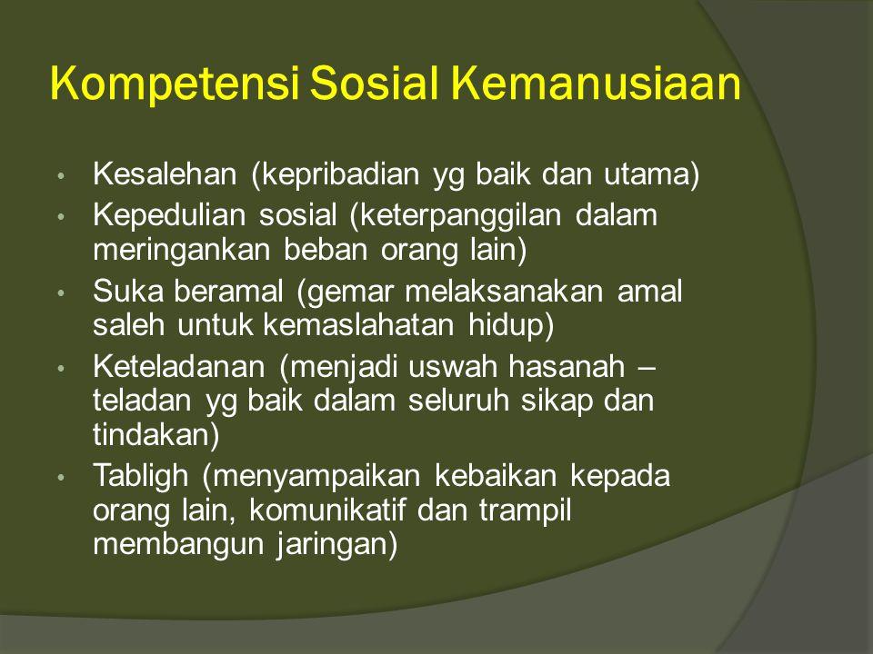 Kompetensi Sosial Kemanusiaan • Kesalehan (kepribadian yg baik dan utama) • Kepedulian sosial (keterpanggilan dalam meringankan beban orang lain) • Su