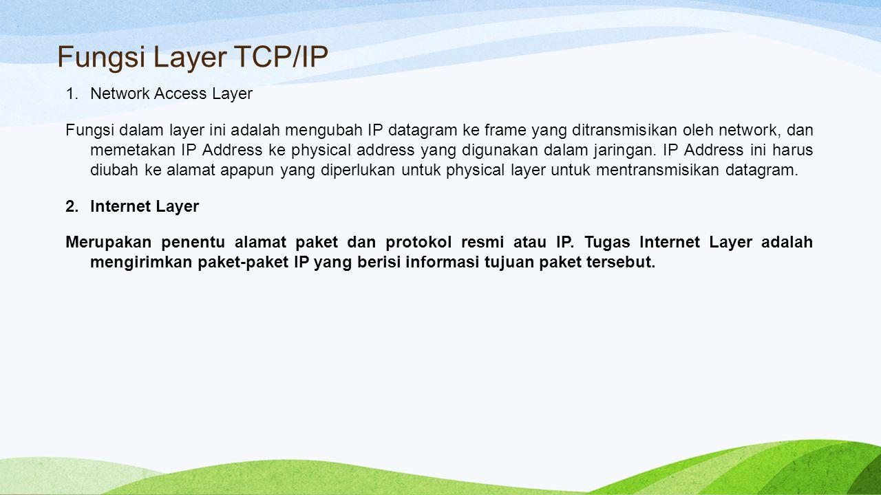 Fungsi Layer TCP/IP 1.Network Access Layer Fungsi dalam layer ini adalah mengubah IP datagram ke frame yang ditransmisikan oleh network, dan memetakan IP Address ke physical address yang digunakan dalam jaringan.