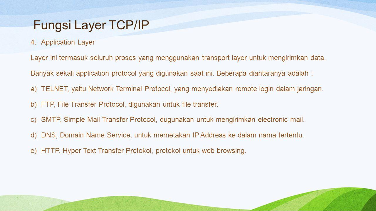 Fungsi Layer TCP/IP 4.Application Layer Layer ini termasuk seluruh proses yang menggunakan transport layer untuk mengirimkan data.