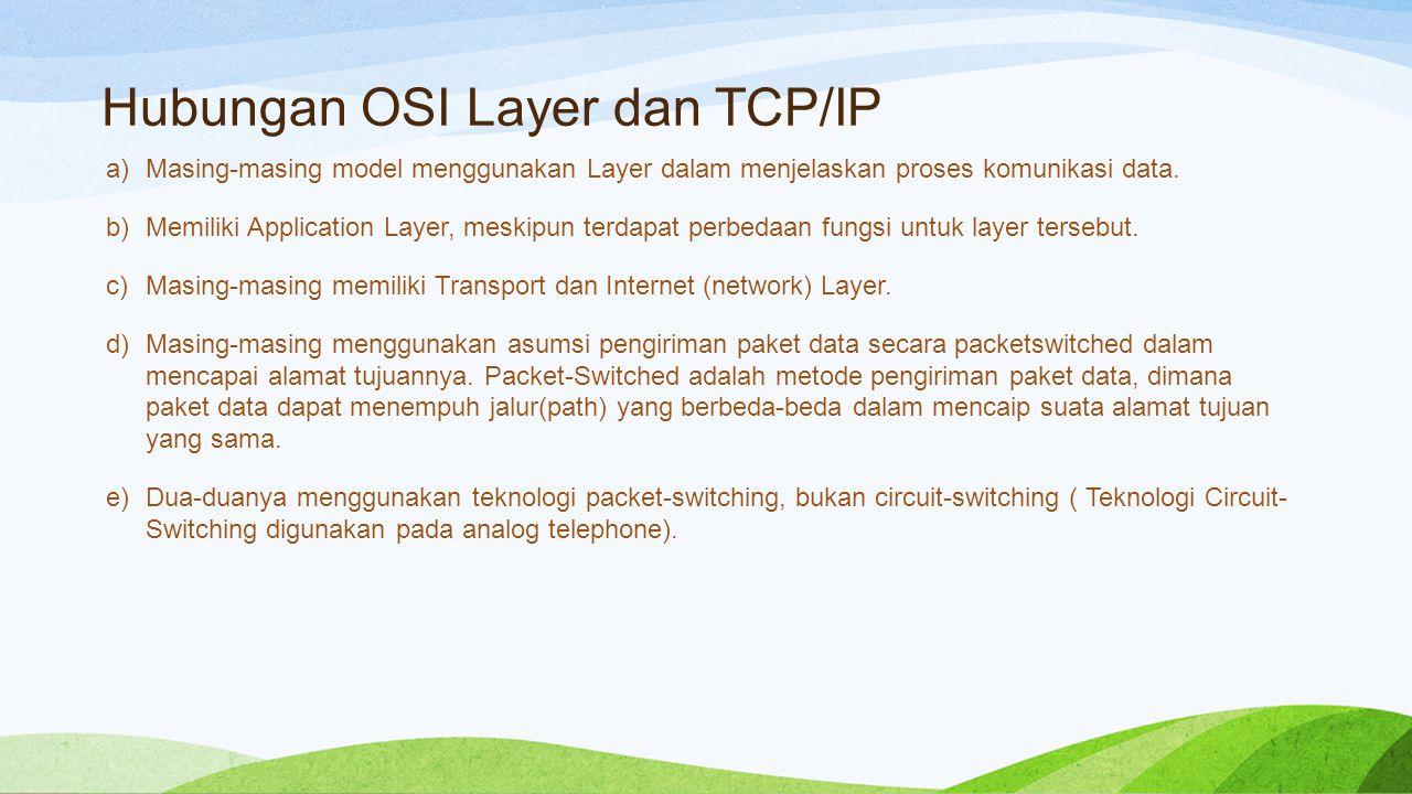 Hubungan OSI Layer dan TCP/IP a)Masing-masing model menggunakan Layer dalam menjelaskan proses komunikasi data.