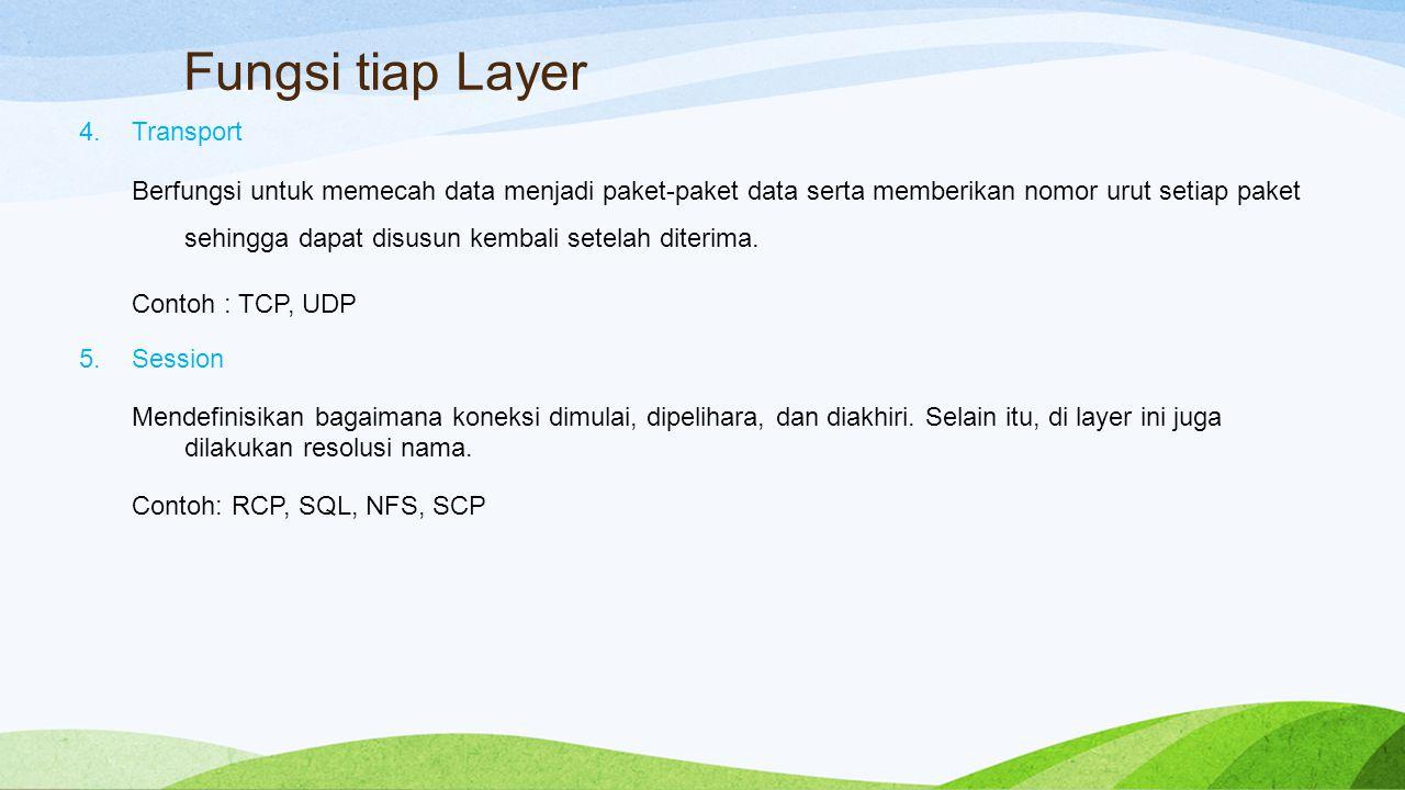Fungsi tiap Layer 4.Transport Berfungsi untuk memecah data menjadi paket-paket data serta memberikan nomor urut setiap paket sehingga dapat disusun kembali setelah diterima.