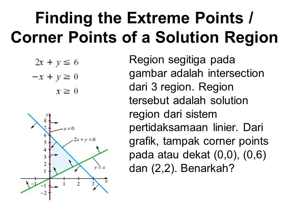 Corner 1 didapatkan dari 2 buah garis batas : - x + y = 0 x = 0 Jumlahkan persamaan pertama dan kedua sehingga diperoleh y = 0.