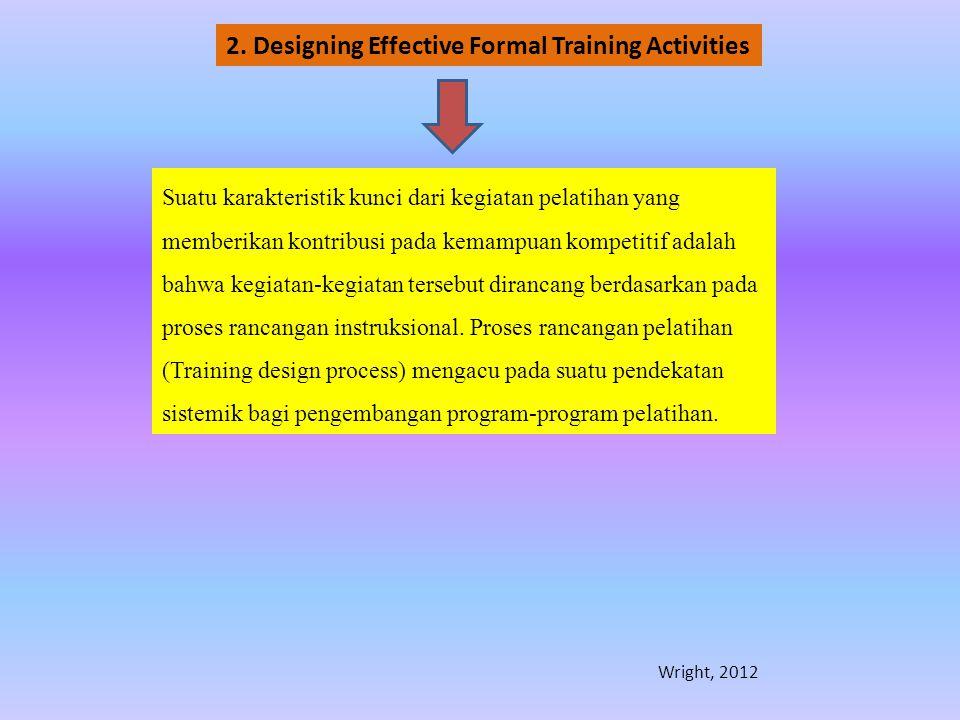 Suatu karakteristik kunci dari kegiatan pelatihan yang memberikan kontribusi pada kemampuan kompetitif adalah bahwa kegiatan-kegiatan tersebut diranca