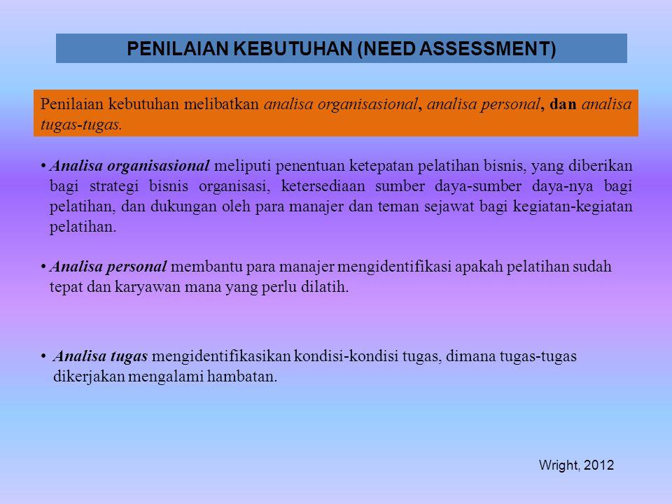PENILAIAN KEBUTUHAN (NEED ASSESSMENT) Penilaian kebutuhan melibatkan analisa organisasional, analisa personal, dan analisa tugas-tugas. •Analisa organ