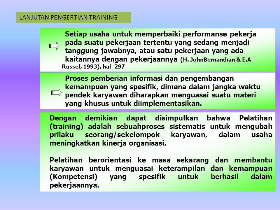 STRATEGI PELATIHAN: SEBUAH PENDEKATAN SISTEMATIK TRAINING HIGH LEVERAGE TRAINING CONTINUOUS TRAINING Sebuah usaha yang terencana untuk memfasilitasi pembelajaran pekerjaan yang terkait dengan pengetahuan, keterampilan, dan kebiasaan dari karyawan Praktek pelatihan yang mengaitkan pelatihan dengan sasaran strategi bisnis.