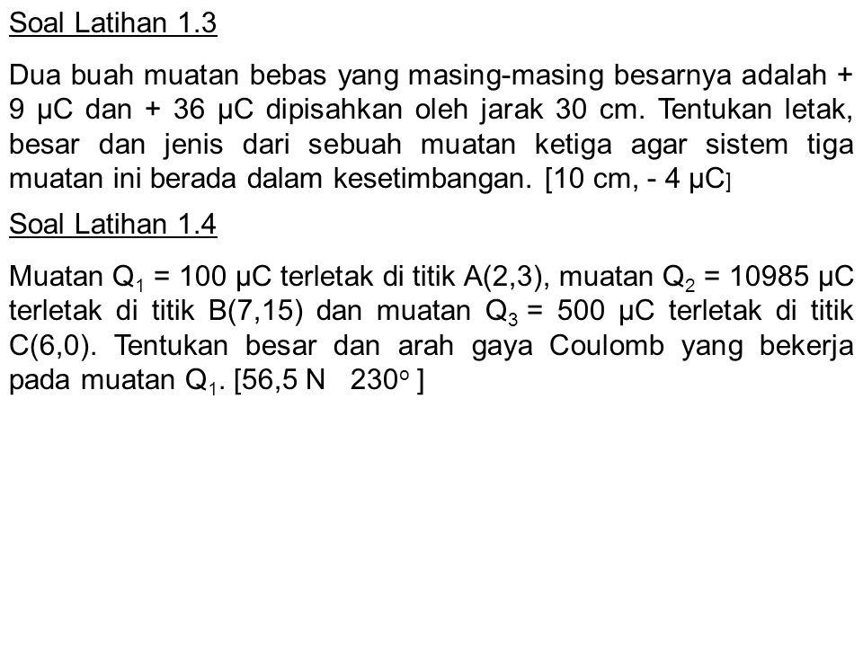 Soal Latihan 1.4 Muatan Q 1 = 100 µC terletak di titik A(2,3), muatan Q 2 = 10985 µC terletak di titik B(7,15) dan muatan Q 3 = 500 µC terletak di tit
